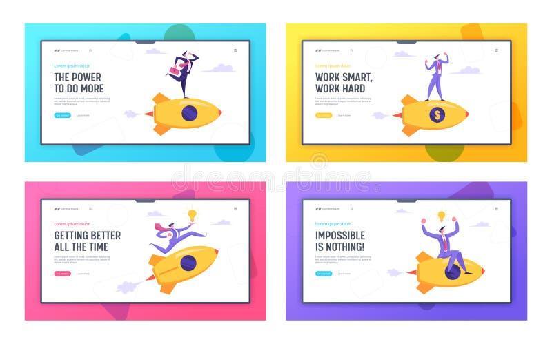 Insieme della pagina di atterraggio del sito Web di tecnologia dell'innovazione di partenza, nuovo concetto di progetto di affari illustrazione di stock