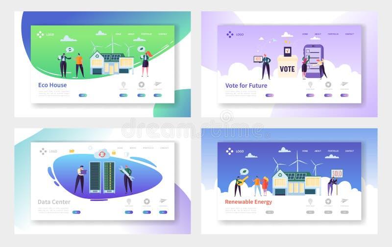 Insieme della pagina di atterraggio dell'energia rinnovabile della Camera di Eco Voto per futuro e configurazione a casa da mater illustrazione vettoriale