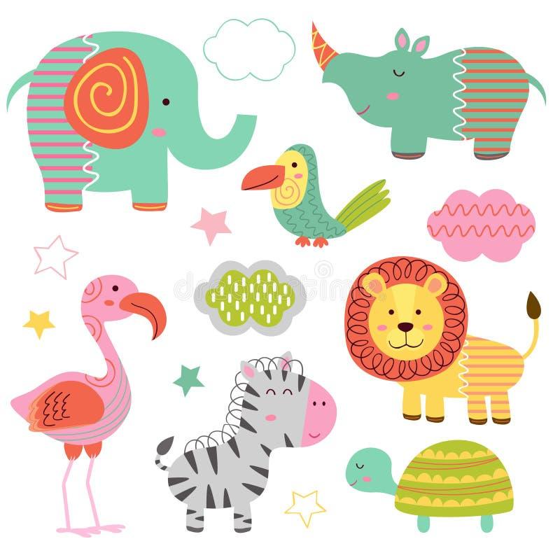 Insieme della parte 2 isolata degli animali della giungla del bambino illustrazione di stock