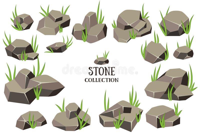 Insieme della pietra del fumetto Roccia grigia con la raccolta dell'erba Illustrazione di vettore isolata su priorità bassa bianc royalty illustrazione gratis