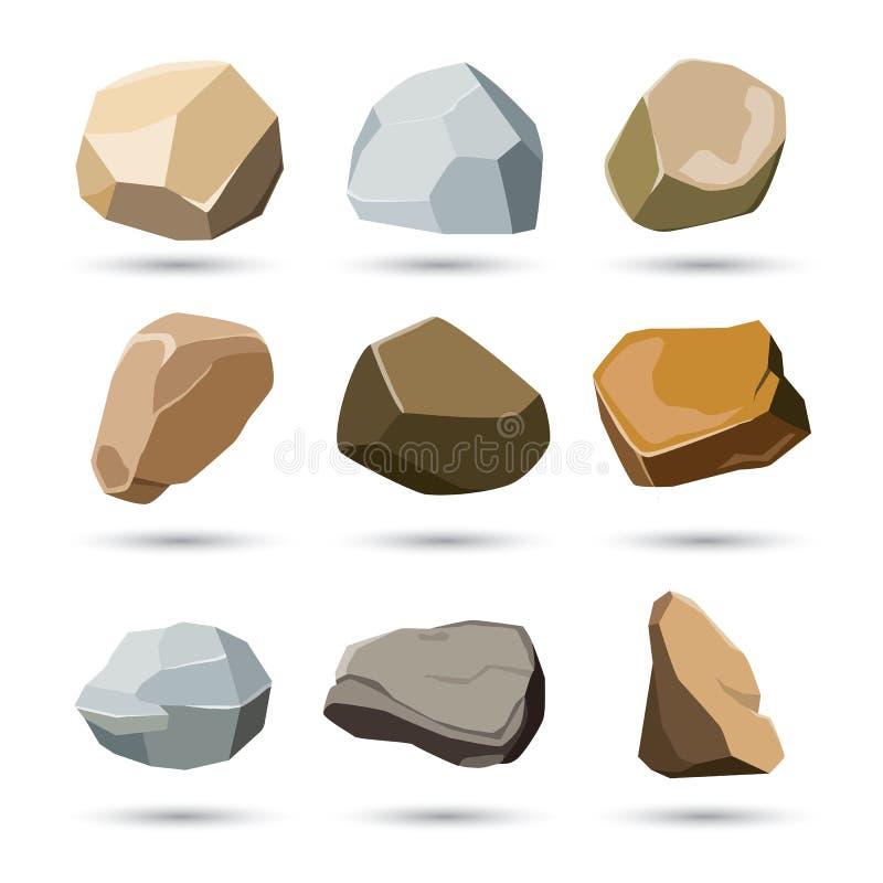 Insieme della pietra e della roccia illustrazione vettoriale