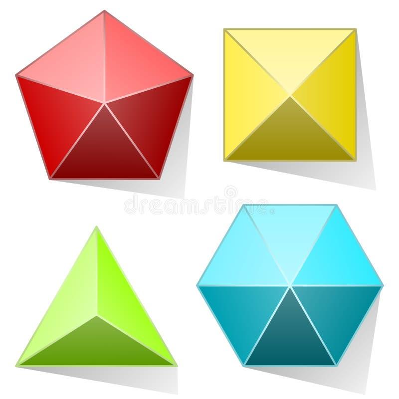 Insieme della piramide di colore illustrazione di stock
