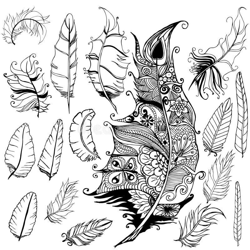 Insieme della piuma royalty illustrazione gratis