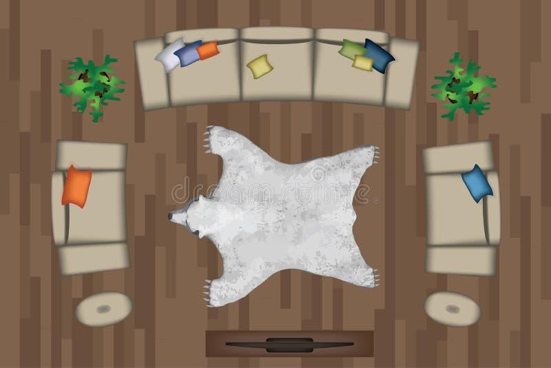 Insieme della poltrona dei sofà Mobilia, pouf, tappeto, TV, piante, Tabella laterale per il vostro interior design Illustrazione  illustrazione di stock