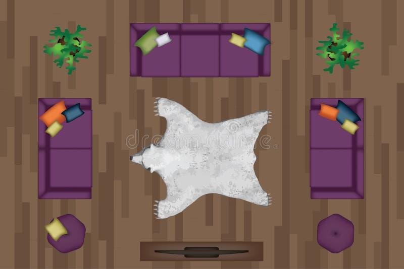 Insieme della poltrona dei sofà Mobilia, pouf, tappeto, TV, piante, Tabella laterale per il vostro interior design Illustrazione  illustrazione vettoriale