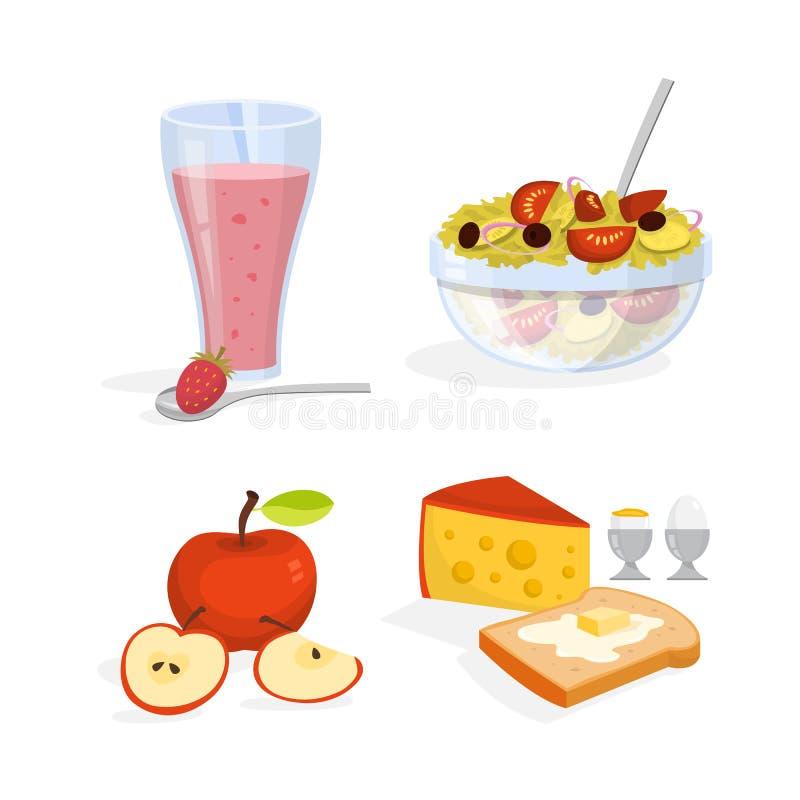 Insieme della prima colazione Raccolta del pasto sano Uovo illustrazione vettoriale