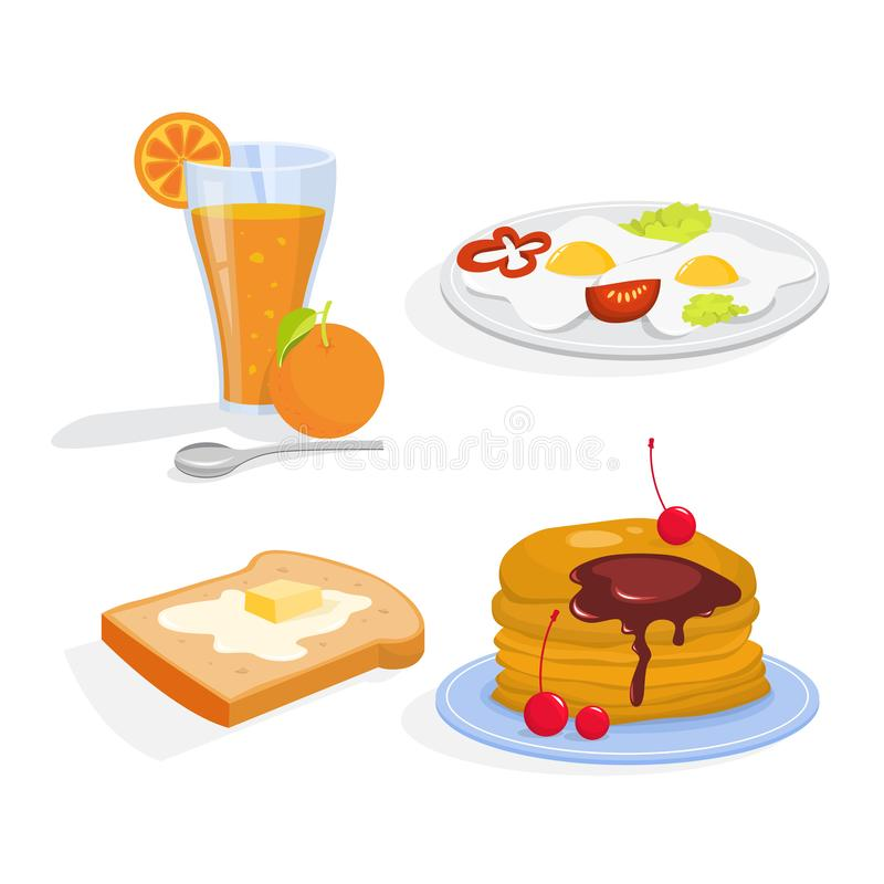Insieme della prima colazione Raccolta del pasto sano Uovo illustrazione di stock
