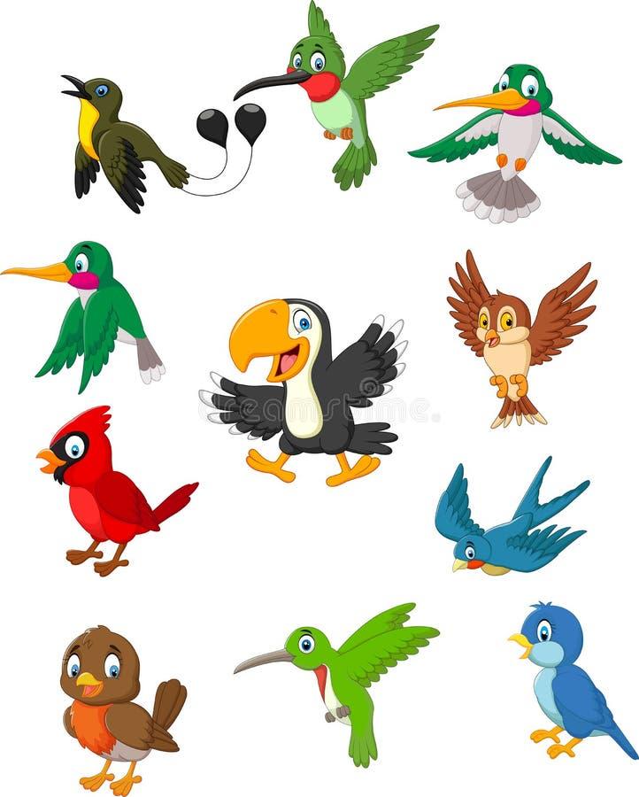 Insieme della raccolta degli uccelli del fumetto illustrazione vettoriale
