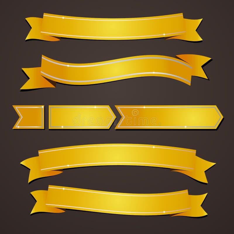 Insieme della raccolta dei nastri eleganti dell'oro di variazione illustrazione di stock