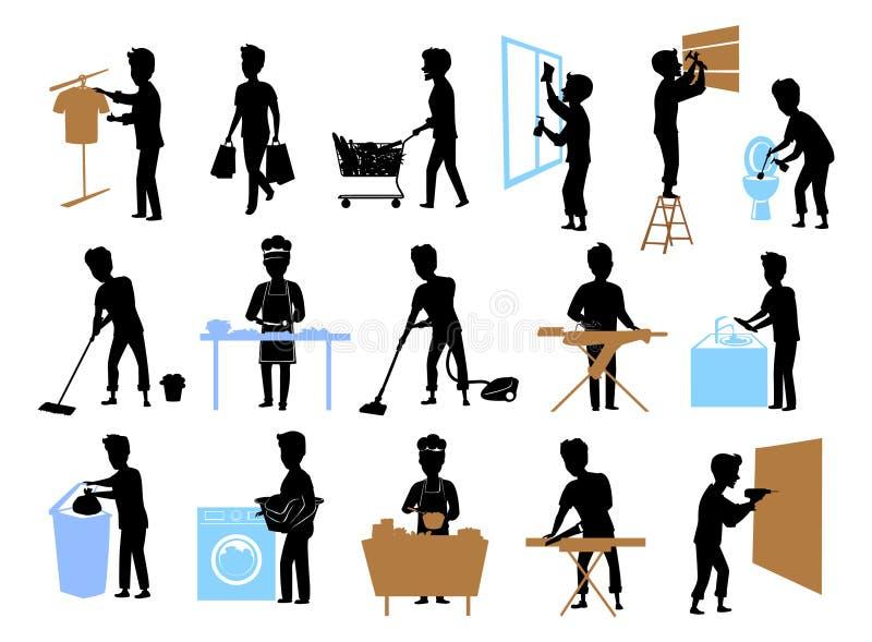 Insieme della raccolta dei sihlouettes maschii a lavoro domestico, uomo che cucina, pavimento domestico di pulizia della toilette royalty illustrazione gratis
