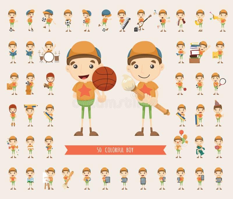 Insieme della raccolta del carattere del ragazzo illustrazione vettoriale