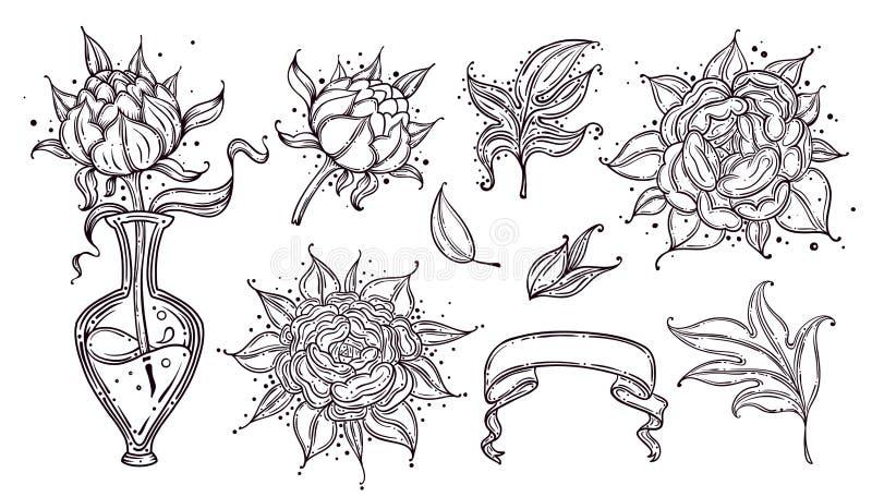 Insieme della raccolta del fiore e delle foglie della rosa canina che disegnano illustrazione per il modello, logo, modello, inse illustrazione di stock