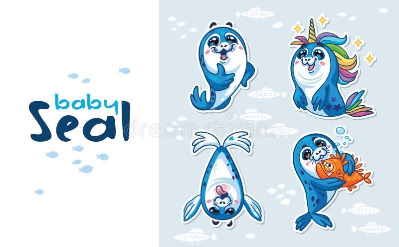 Insieme della raccolta dell'autoadesivo del cucciolo di foca illustrazione vettoriale
