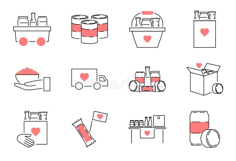 Insieme della raccolta dell'icona del profilo dell'azionamento dell'alimento Illustrazione di vettore del pasto di carità illustrazione di stock
