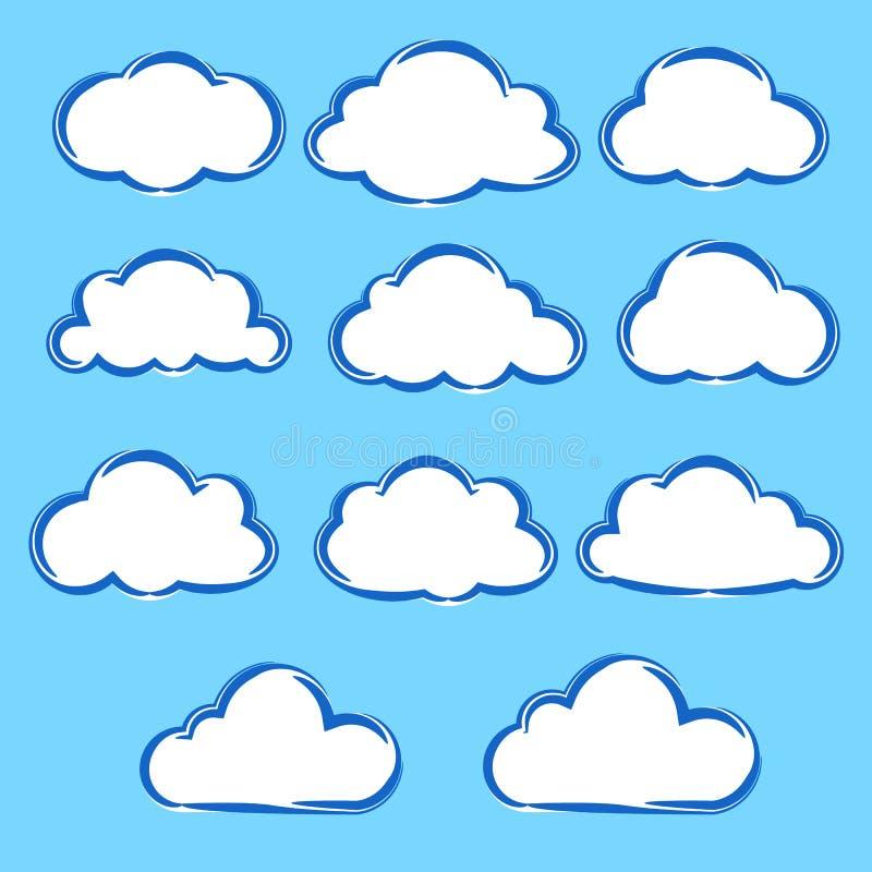 Insieme della raccolta delle nuvole del fumetto di variazione sul fondo del cielo blu royalty illustrazione gratis