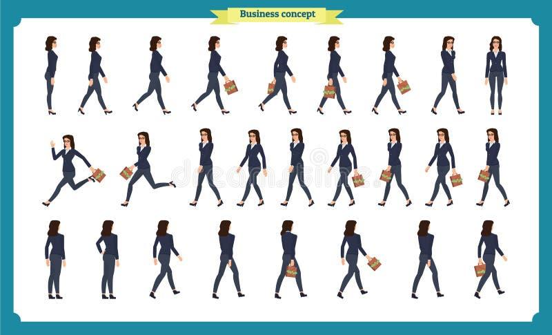 Insieme della raccolta di camminata e di dirigere la donna di affari Passeggiata, funzionamento, attivo Varietà di movimenti cara illustrazione di stock