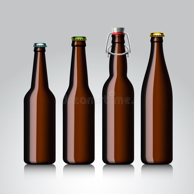 Insieme della radura della bottiglia da birra senza il contrassegno illustrazione vettoriale