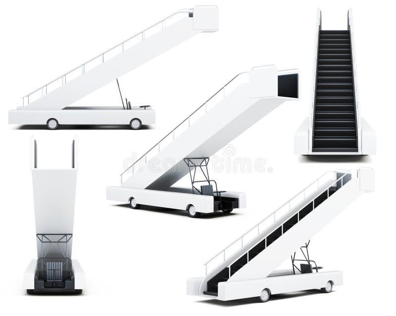 Insieme della rampa mobile di imbarco su un fondo bianco 3d royalty illustrazione gratis