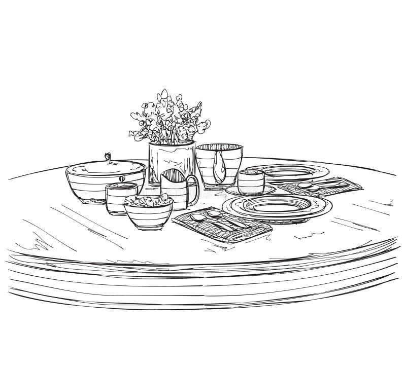 Insieme della regolazione della Tabella Prima colazione o cena di fine settimana royalty illustrazione gratis