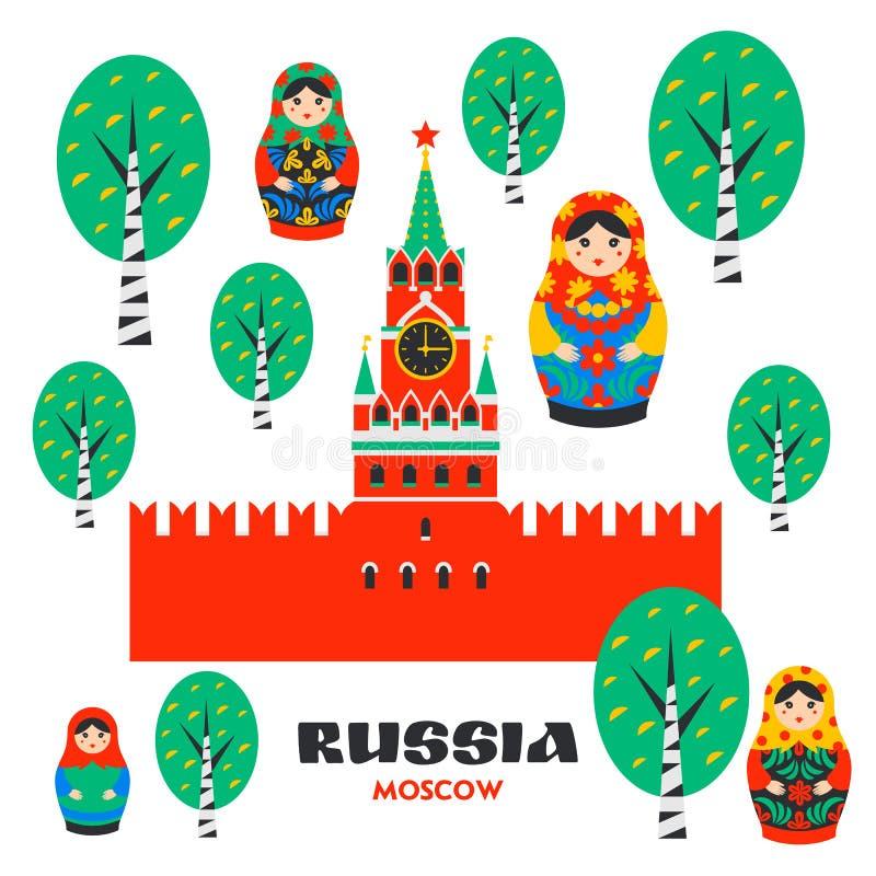 Insieme della Russia Cremlino di Mosca, Matrioshka e betulle russe Torre di Spasskaya del Cremlino sul quadrato rosso a Mosca illustrazione di stock