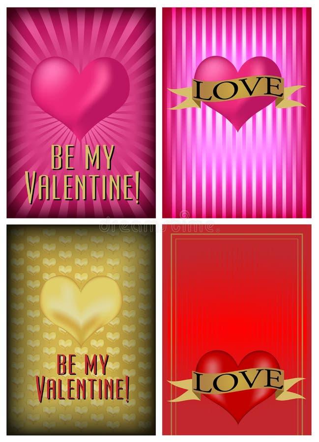 Insieme della scheda di giorno del biglietto di S. Valentino della st illustrazione di stock