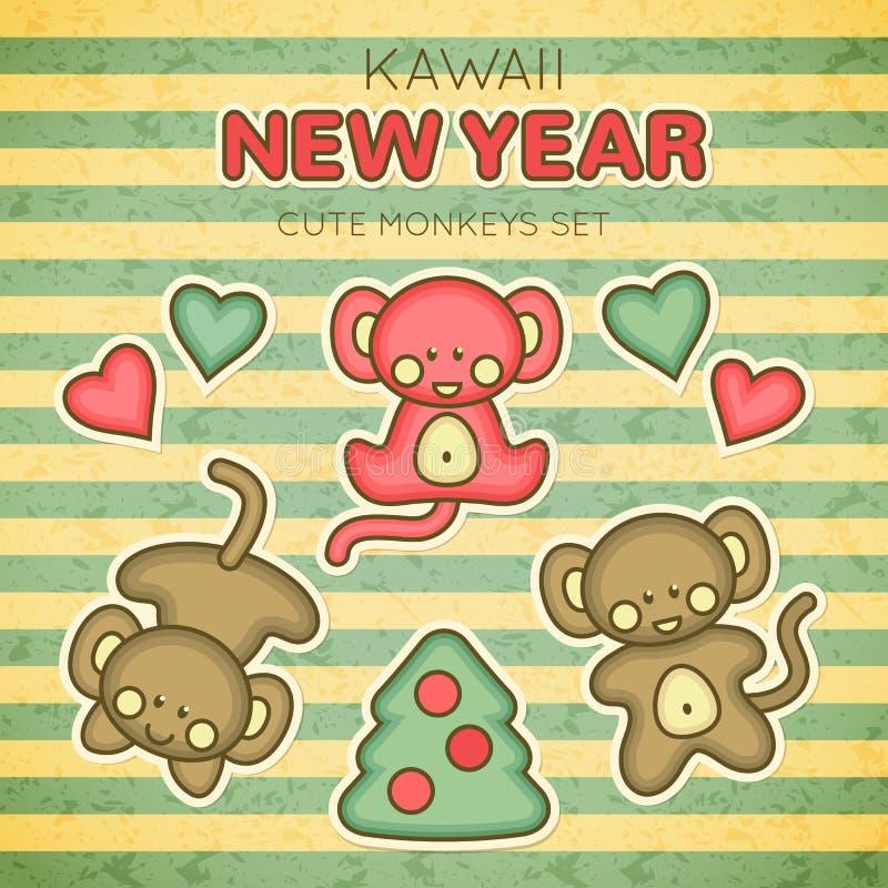 Insieme della scimmia del nuovo anno di Kawaii illustrazione vettoriale