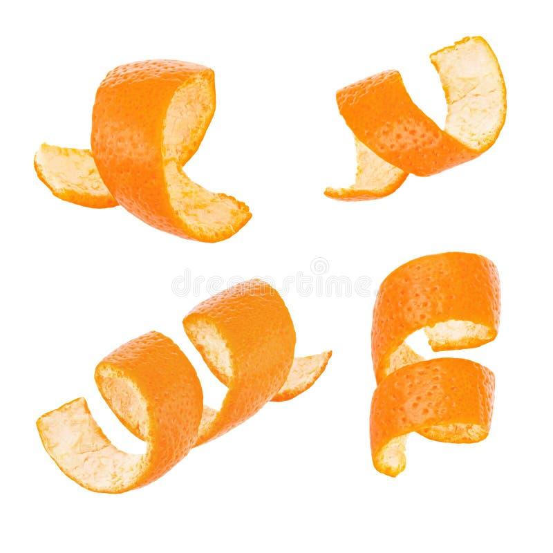 Insieme della scorza d'arancia del ricciolo isolato su fondo bianco fotografie stock libere da diritti
