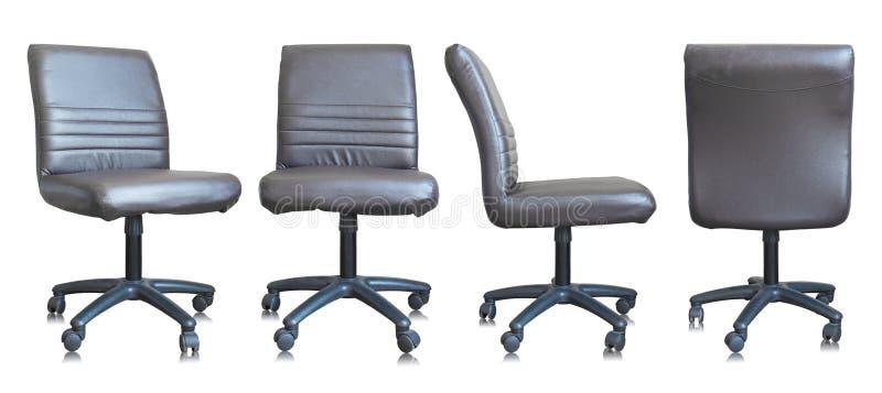Insieme della sedia di cuoio dell'ufficio su fondo bianco fotografie stock libere da diritti
