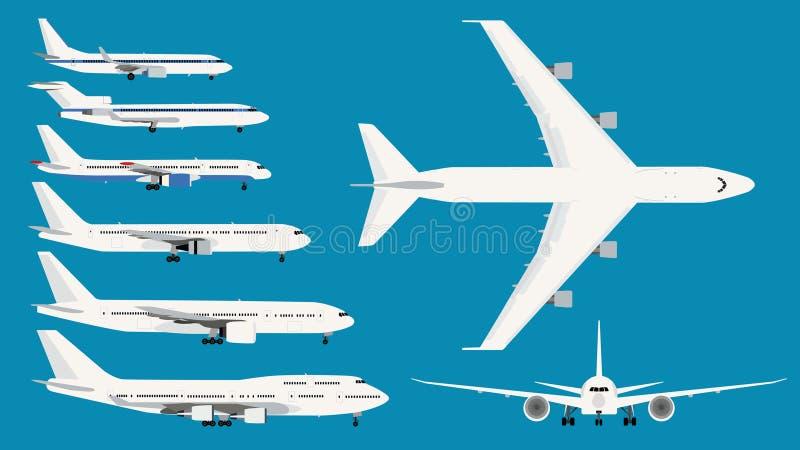 Insieme della serie isolata di Boeing degli Airbus fotografie stock