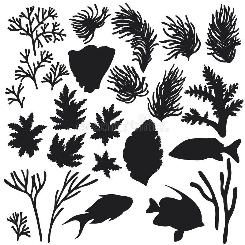 Insieme della siluetta degli animali e dei coralli della scogliera illustrazione vettoriale