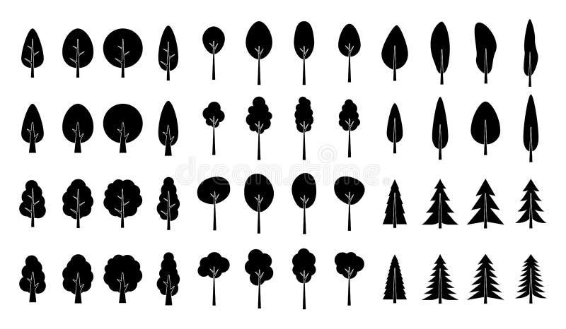 Insieme della siluetta dei pini isolato su fondo bianco royalty illustrazione gratis