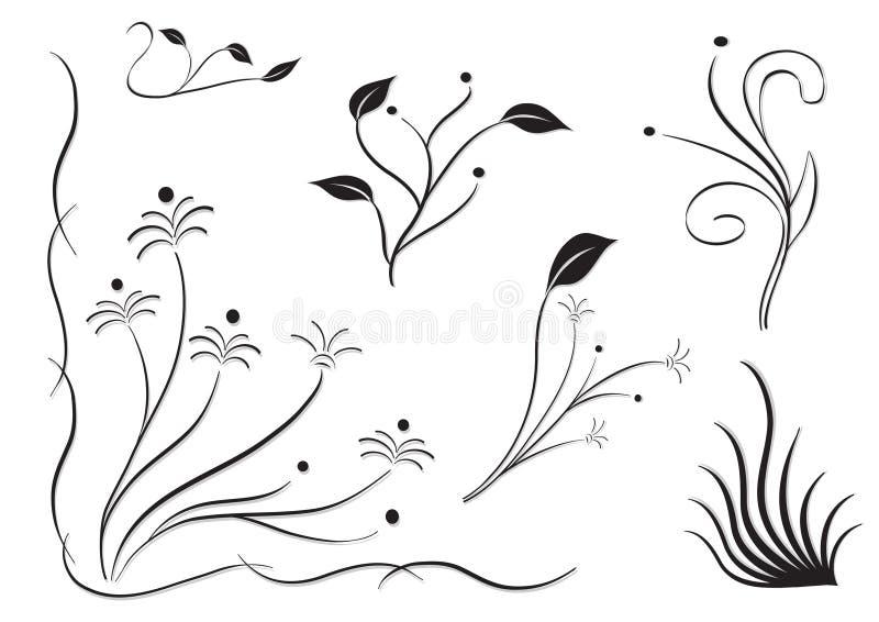 Insieme della siluetta del fiore illustrazione di stock