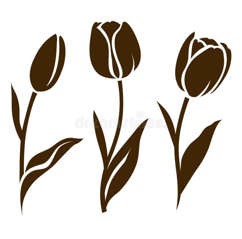 Insieme della siluetta del tulipano Illustrazione di vettore Raccolta dei fiori decorativi royalty illustrazione gratis