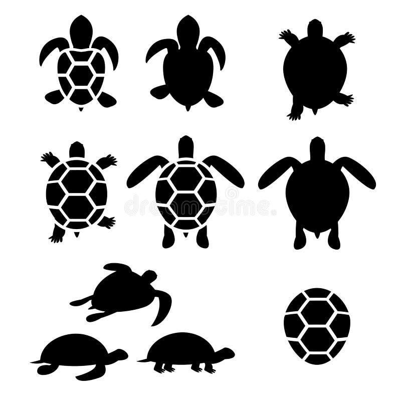 Insieme della siluetta della tartaruga e della tartaruga illustrazione di stock