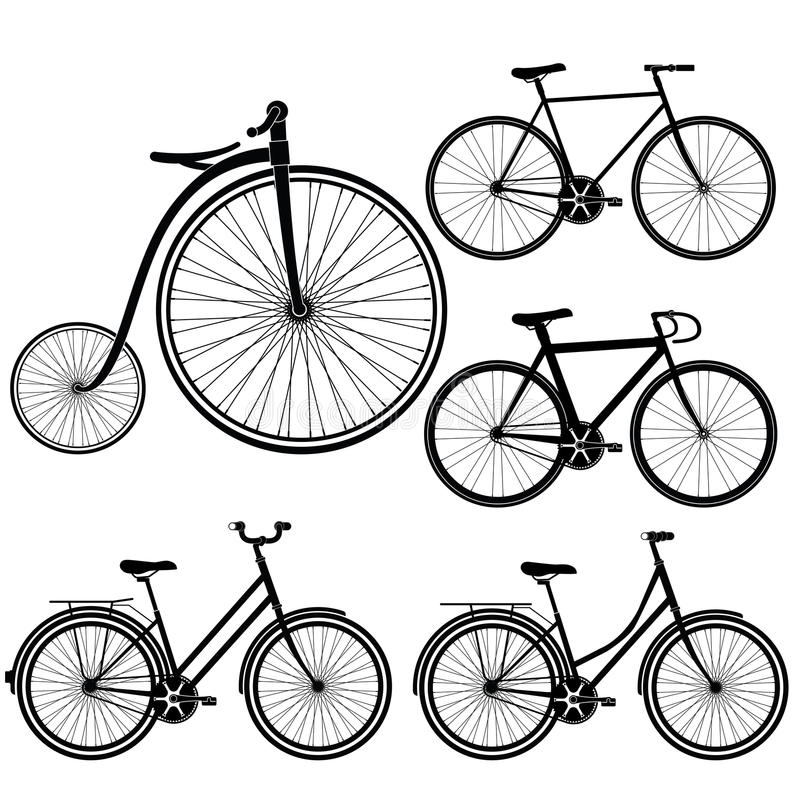 Insieme della siluetta delle biciclette su fondo bianco illustrazione di stock