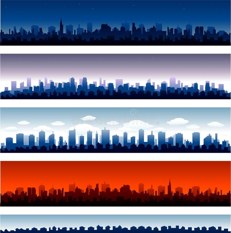 Insieme della siluetta delle città di vettore illustrazione di stock