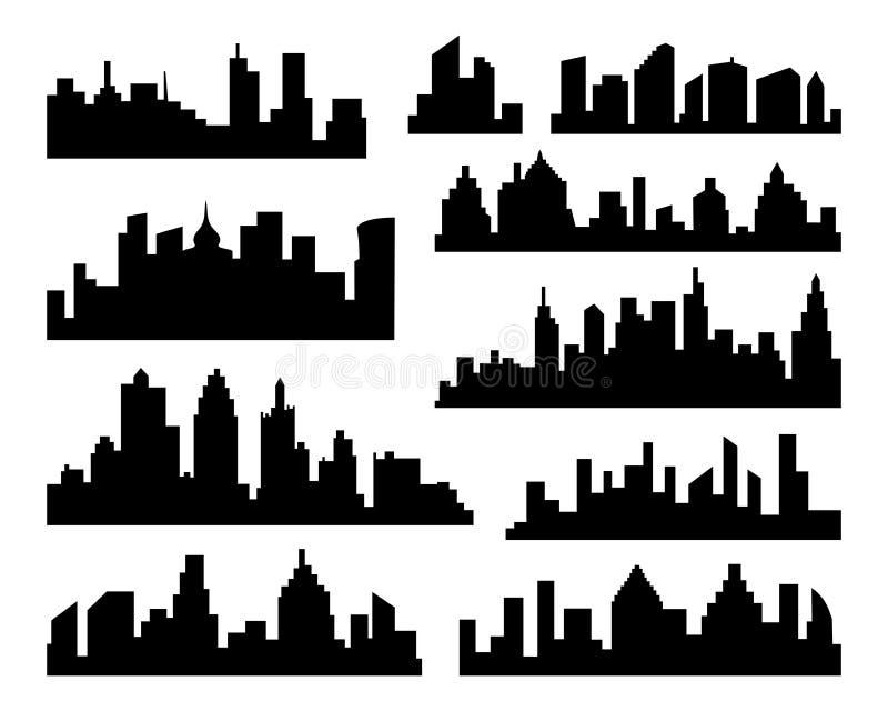 Insieme della siluetta delle città di vettore Icone nere della città su fondo bianco illustrazione vettoriale