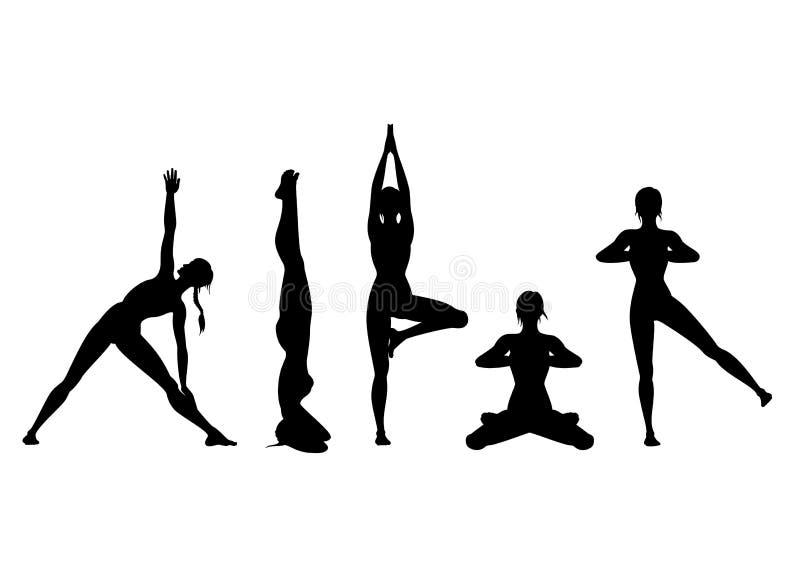 Insieme della siluetta di yoga immagine stock