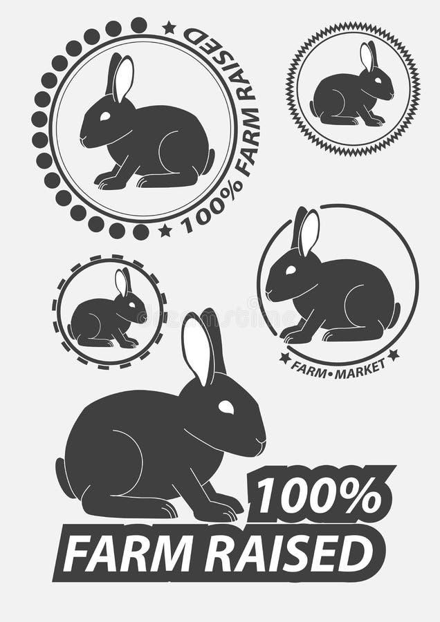 Insieme della siluetta il coniglio, lepre Caccia della lepre Siluette dei conigli illustrazione di stock