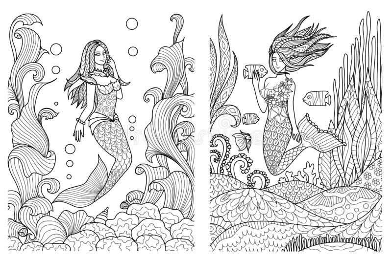 Insieme 1 della sirena illustrazione di stock
