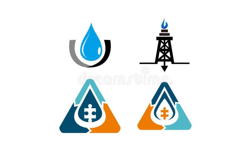 Insieme della soluzione del tubo del gas d'acqua dell'olio illustrazione di stock