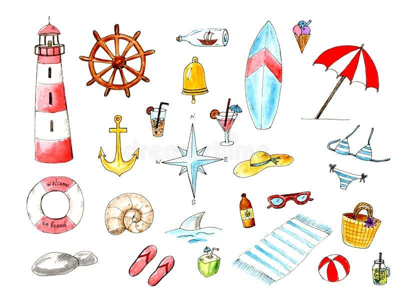 Insieme della spiaggia del mare di estate dell'acquerello Elementi divertenti di progettazione di estate illustrazione di stock