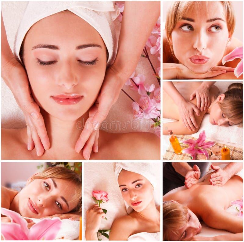 Insieme della stazione termale di massaggio fotografia stock libera da diritti