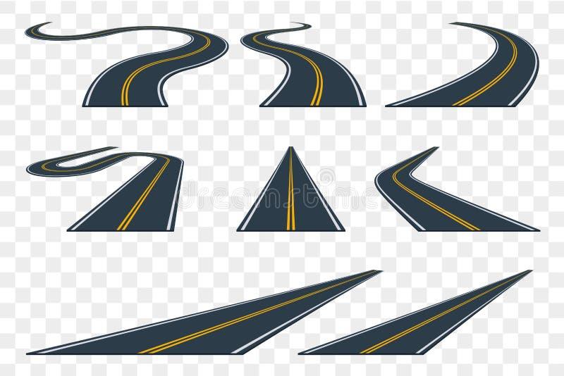 Insieme della strada asfaltata curva nella prospettiva Icone della strada principale illustrazione di stock