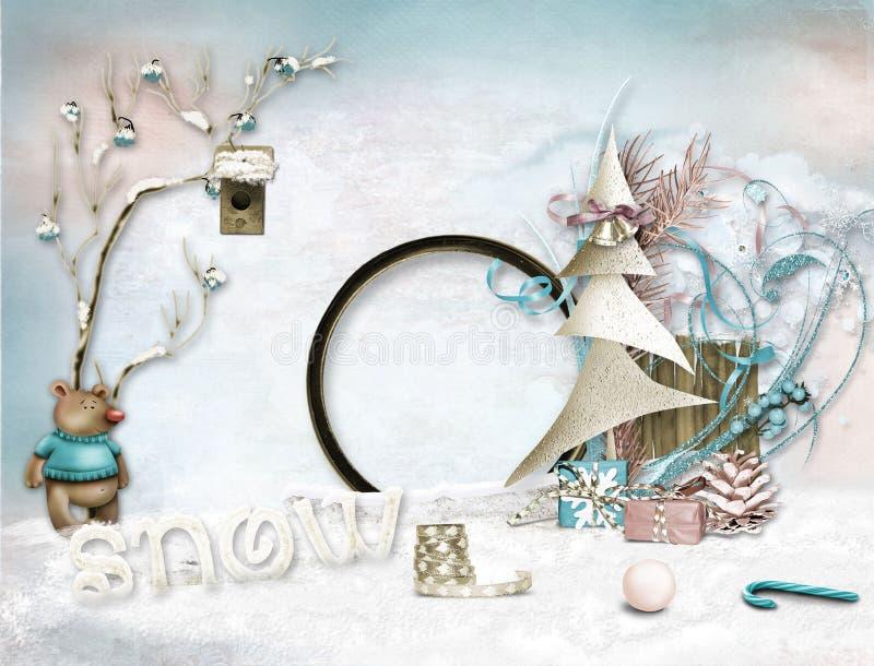 Insieme della struttura di inverno per la foto Cartolina di Natale illustrazione di stock