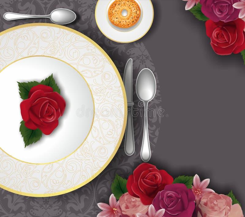Insieme della Tabella, decorato con il piatto di oro, la coltelleria ed i fiori illustrazione vettoriale