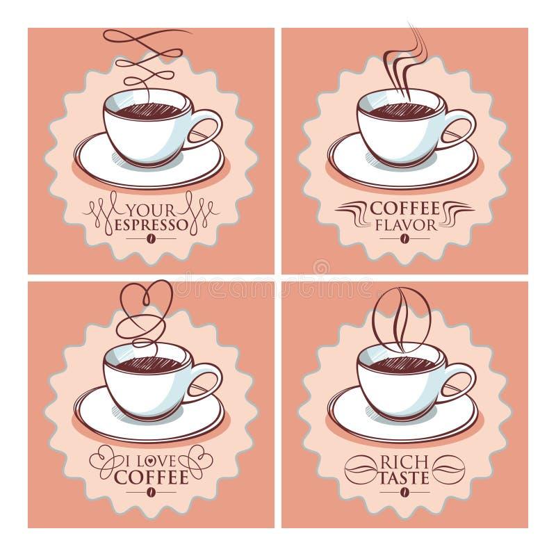 Insieme della tazza di caffè illustrazione vettoriale