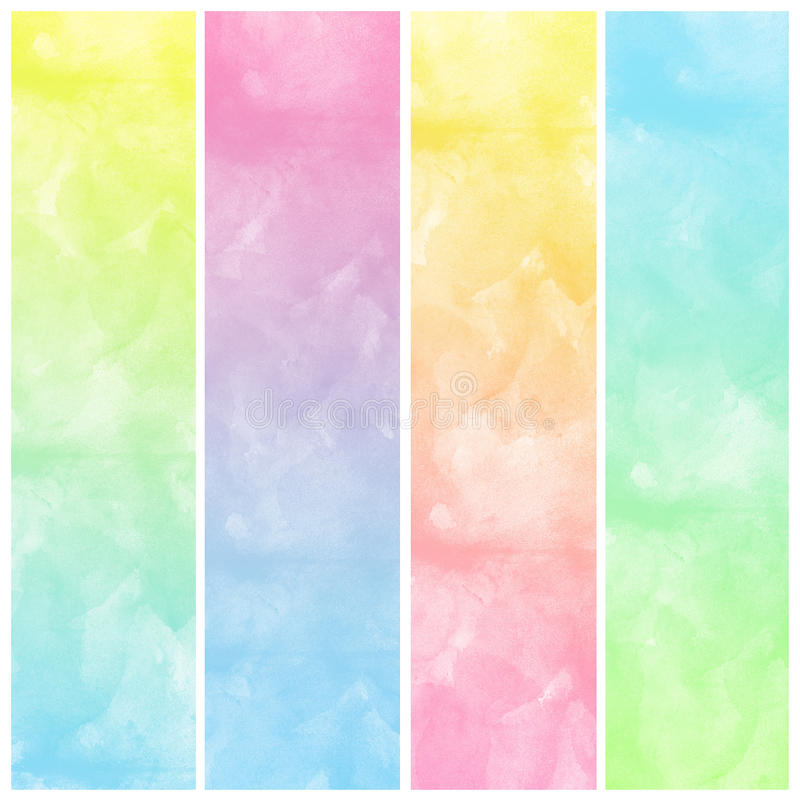 Insieme della vernice astratta variopinta di arte di colore di acqua illustrazione di stock