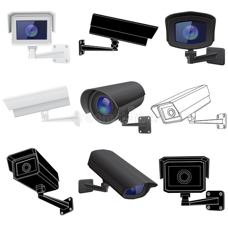 Insieme della videocamera di sicurezza del CCTV Dispositivi di sorveglianza 3d e disegni di profilo illustrazione vettoriale