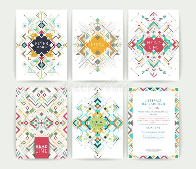 Insieme delle alette di filatoio variopinte astratte geometriche royalty illustrazione gratis